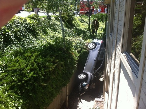 A teenage driver suffered only a sprained foot after she lost control of her car Monday and hit a building on Fort Union Boulevard (7000 South). Courtesy Cottonwood Heights Police
