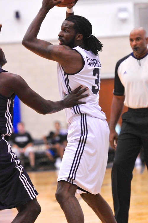 DeMarre Carroll (3) of the Utah Jazz play the Indiana Pacers during the Orlando Summer League games Thursday, July 12, 2012 in Orlando, Florida.  (Photo by Roberto Gonzalez|Special to the Tribune)
