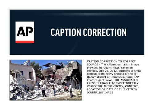 CAPTION CORRECTION TO CORRECT SOURCE - This citizen journalism image provided by Ugarit News, taken on Monday, July 23, 2012, purports to show damage from heavy shelling of the al-Qadam district of Damascus, Syria. (AP Photo/ Ugarit News) THE ASSOCIATED PRESS IS UNABLE TO INDEPENDENTLY VERIFY THE AUTHENTICITY, CONTENT, LOCATION OR DATE OF THIS CITIZEN JOURNALIST IMAGE