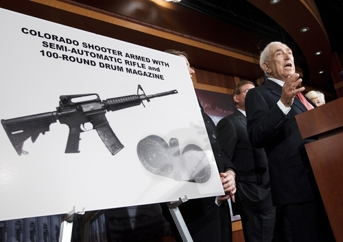 Sen. Frank Lautenberg, D-N.J. gestures during a news conference on Capitol Hill in Washington, Tuesday, July 24, 2012, to criticize the sale of high-capacity magazines for assault rifles that are sold to the public. A previous federal ban on high-capacity ammunition magazines was allowed to lapse in 2004. (AP Photo/J. Scott Applewhite)
