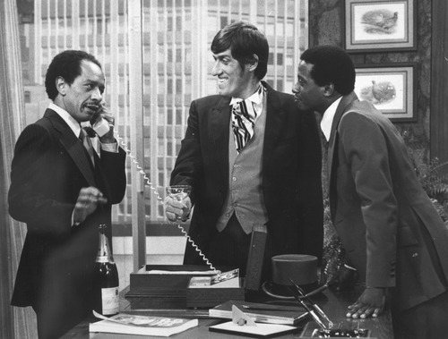 In this 1977 file photo provided by CBS, from left, Sherman Hemsley, Paul Benedict, and Damon Evans star in an episode of