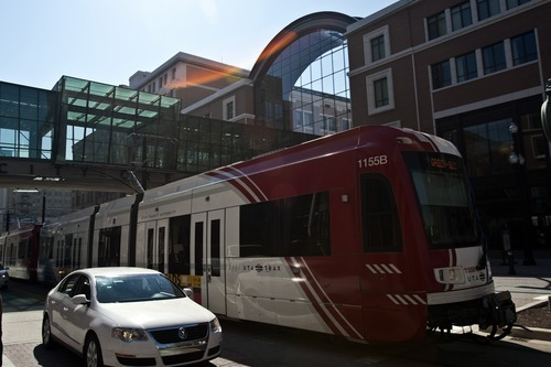 Chris Detrick  |  The Salt Lake Tribune A Utah Transit Authority TRAX train runs through downtown Salt Lake City.