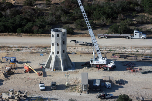 A tower is shown under construction in the past year at the polygamous Yearning For Zion Ranch in West Texas.  Courtesy JD Doyle