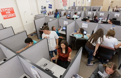 Trent Nelson  |  The Salt Lake Tribune Volunteers make calls on behalf of presidential candidate Mitt Romney at a call center in Orem, Utah, on Thursday, July 19, 2012.