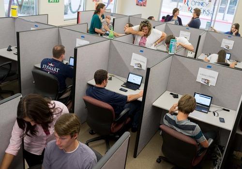 Trent Nelson     The Salt Lake Tribune Volunteers make calls on behalf of presidential candidate Mitt Romney at a call center in Orem, Utah, on Thursday, July 19, 2012.