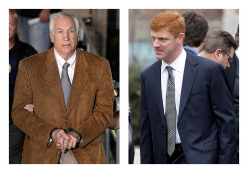 FILE - In this combination of 2012 file photos, former Penn State University assistant football coach Jerry Sandusky, left, leaves the Centre County Courthouse in Bellefonte, Pa. in handcuffs, and former Penn State assistant football coach Mike McQueary waits in line for a public viewing for Penn State football coach Joe Paterno in State College, Pa. A man who claims to be the unknown victim molested in a Penn State shower by Sandusky in a case that led to Paterno's firing intends to sue the university for its