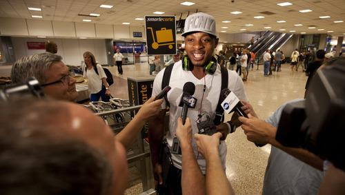 Lennie Mahler  |  The Salt Lake Tribune Utah Jazz guard Randy Foye arrives at Salt Lake International Airport on Wednesday, July 25, 2012.