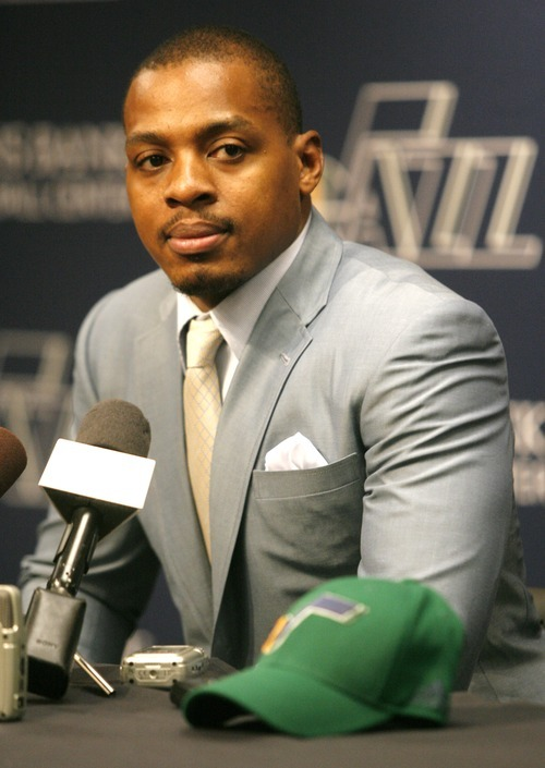 Rick Egan  | The Salt Lake Tribune   Randy Foye, the newly acquired Jazz player from the LA Clippers, talks to the media at the Zion's Bank Basketball Center, Thursday, July 26, 2012.
