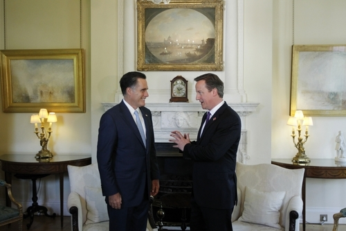 Charles Dharapak  |  The Associated Press Republican presidential candidate Mitt Romney meets with British Prime Minister David Cameron at 10 Downing Street in London, Thursday.