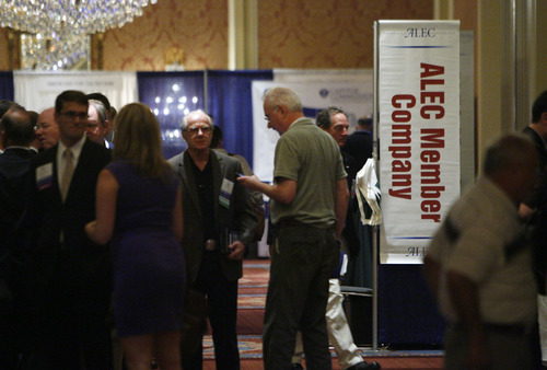 Francisco Kjolseth  |  The Salt Lake Tribune The American Legislative Exchange Council (ALEC) allows corporate sponsors to sit side-by-side with elected legislators in coming up with model legislation to push in state Capitols. Critics say its a recipe for big business to exert undue influence on government.
