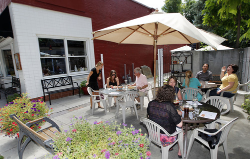 Al Hartmann  |  The Salt Lake Tribune   Lunch diners set on the patio at the Avenues Bistro on Third.