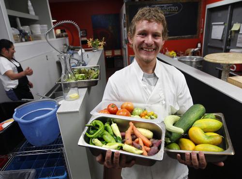 Al Hartmann  |  The Salt Lake Tribune   Brook Wall, farmer-chef, supplies fresh vegetables at the Avenues Bistro on Third.