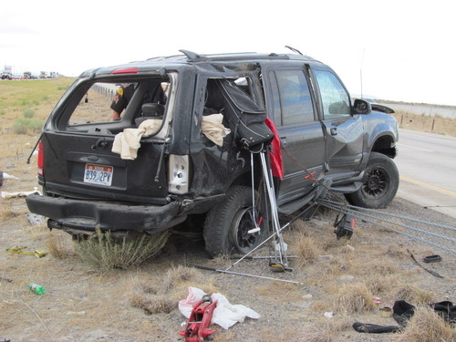 A woman was critically injured when ejected from this vehicle as it rolled on Interstate 80 Friday morning. (Utah Highway Patrol photo)