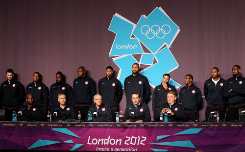The United States Olympic basketball team appears during a news conference at the Olympic Park, Friday, July 27, 2012, in London. The 2012 Summer Olympics begin with opening ceremonies on Friday.  (AP Photo/Stephen Pond, PA)