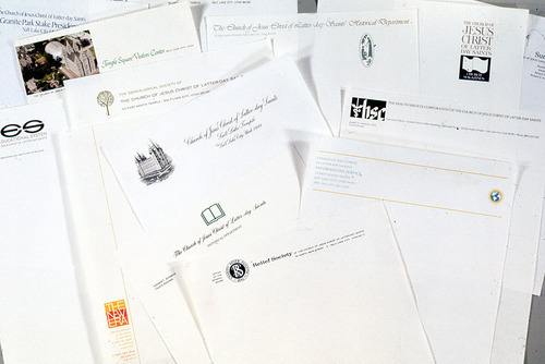 Various letterheads being used in LDS Church departments in 1974 Courtesy Randall Smith