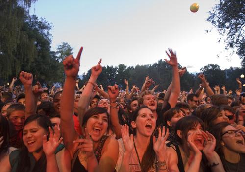 Kim Raff | The Salt Lake Tribune Fans cheer as Band of Horses performs at the Twilight Summer Concert Series at Pioneer Park in Salt Lake City, Utah on July 26, 2012.