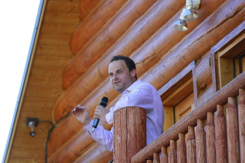 Greg Peterson speaks at the Rocky Mountain Conservatives barbecue held at Peterson's cabin near Heber on July 1, 2011.
