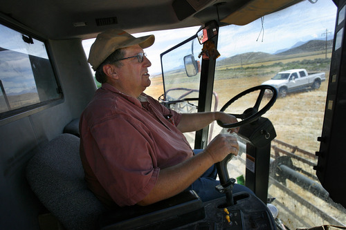 Scott Sommerdorf  |  The Salt Lake Tribune              Jim Smith sits in a wheat harvester, Monday, July 23, 2012. Smith, a dry land wheat farmer in Cedar Valley, is owed money by the Lehi Roller Mills, but says he'll wait out payment because of the Mills' importance to local farmers. Smith's family has been doing business with the Roller Mills since 1916.