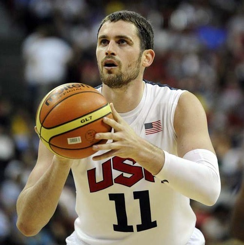 (Photo by David Becker/Getty Images) Kevin Love, here shooting a free throw during a pre-Olympic exhibition game against the Dominican Republic at Thomas & Mack Center on July 12, in Las Vegas, has found playing time hard to come by.