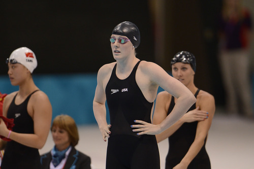 Missy Franklin eyes the pool as she prepares  for the Women's 4 x 100m Freestyle Relay during the evening session of the swimming competition Saturday, July 28, 2012 at the Aquatics Centre.  John Leyba, The Denver Post