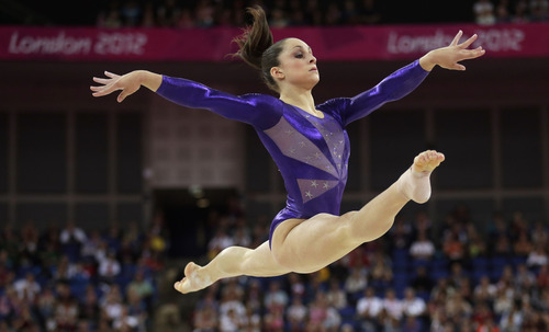 U.S. gymnast Jordyn Wieber performs on the floor during the Artistic Gymnastics women's qualification at the 2012 Summer Olympics, Sunday, July 29, 2012, in London. (AP Photo/Gregory Bull)