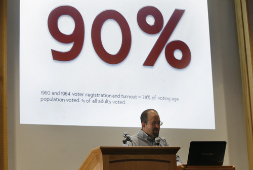 Scott Sommerdorf  |  The Salt Lake Tribune              Aaron Campbell discusses voting trends in Utah -- and among Mormon church leadership on July 28 at the Sunstone Symposium, held at the University of Utah.
