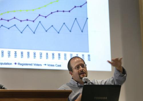Scott Sommerdorf  |  The Salt Lake Tribune              Aaron Campbell discusses voting trends in Utah on July 28 at the 2012 Sunstone Symposium, held at the University of Utah.