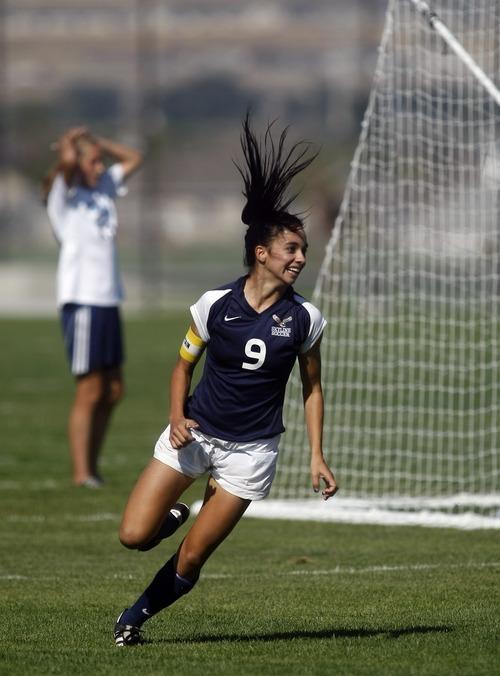 Chris Detrick  |  The Salt Lake Tribune Skyline's Ashley Aberton (9) celebrates after scoring a goal during the game at Westlake High School Tuesday September 20, 2011.