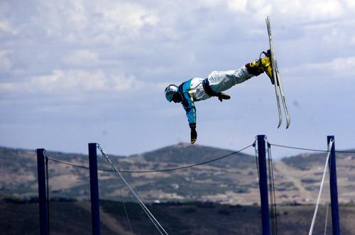Kim Raff     The Salt Lake Tribune Ski jumpers practice during a London Summer Olympics celebration at Utah Olympic Park in Park City, Utah on July 28, 2012.