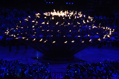 The Olympic Cauldron during Opening Ceremonies in the Olympic Stadium for the London 2012 Olympics at Olympic Park in London, England on Friday night, July 27, 2012.  (Nhat V. Meyer/Staff)