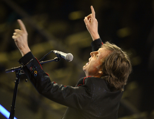Paul McCartney closes out the festivities with Hey Jude during opening ceremonies  Friday, July 27 2012 at Olympic Stadium. John Leyba, The Denver Post