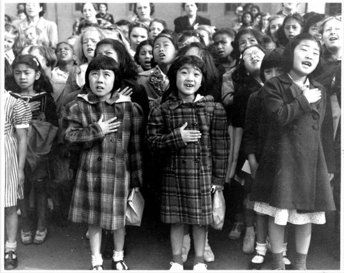 Topaz children saying the Pledge of Allegiance.  Courtesy Topaz Collection, Utah State Historical Society.
