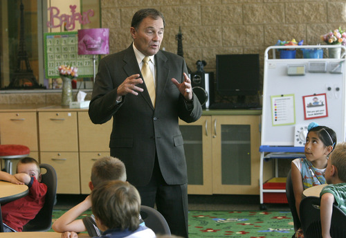 Rick Egan  | The Salt Lake Tribune   Gov. Herbert (left) talks to second grade students about racing, at Foxboro Elementary, in North Salt Lake, Tuesday, July 31, 2012.  Gov. Herbert and leaders of Prosperity 2020 announced an initiative to get more business volunteers in schools.