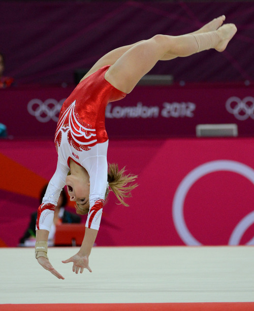 Russia's Anastasia Grishnia competes on the floor exercise for the Women's Gymnastics Team finals at North Greenwich Arena for the London 2012 Olympics in London, England on Tuesday, July 31, 2012.  (Nhat V. Meyer/Mercury News)