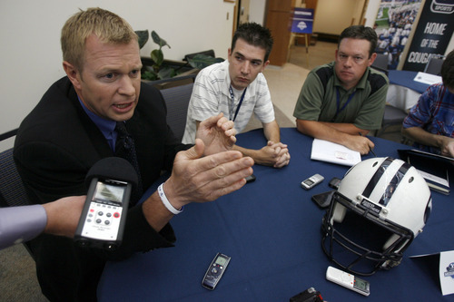 Francisco Kjolseth  |  Tribune file photo BYU holds its football media day in June as coach Bronco Mendenhall speaks with the media during a round table a good six weeks before the start of training camp at the new BYU broadcasting building on campus.