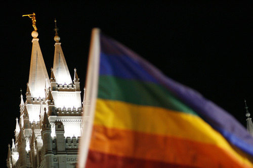 Chris Detrick | The Salt Lake Tribune A rainbow flag representing gay pride waves outside of Temple Square during a November 2008 protest of the Mormon church's support for California's Proposition 8.