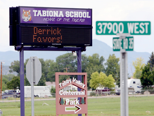 Steve Griffin | The Salt Lake Tribune   The Tabiona School electric sign welcomes Utah Jazz forward, Derrick Favors, to town during the Jazz player's visit to Tabiona, Utah and their Junior Jazz program Monday July 30, 2012.