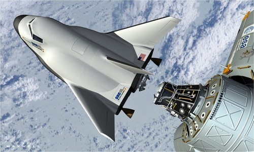 This artist's rendering provided by Sierra Nevada Space Systems shows the company's Dream Chaser spacecraft docking with the International Space Station. NASA has picked three aerospace companies to build small rocketships to take astronauts to the International Space Station. This is the third phase of NASA's efforts to get private space companies to take over the job of the now-retired space shuttle. The space agency is giving them more than $1.1 billion. Two of three ships are capsules like in the Apollo era and the third is a lifting body that is closer in design to the space shuttle.  (AP Photo/Sierra Nevada Space Systems)