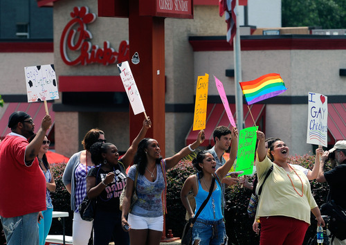 Gay rights groups and others protest and hold a