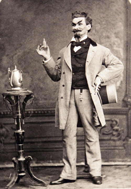 Photo Courtesy of the Utah Historical Society   Salt Lake Theatre player Duncan M. McAllister portraying the Sorcerer in Glibert & Sullivan's comic opera in 1880.