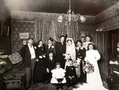 Photo Courtesy of the Utah Historical Society   Theatre group at Brockbanks with women actors dressed as men in 1906
