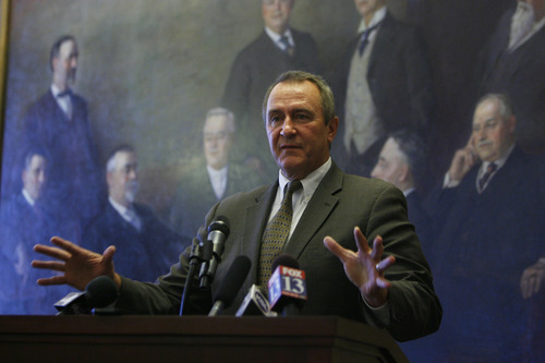 Francisco Kjolseth  |  The Salt Lake Tribune Utah Attorney General Mark Shurtleff holds a press conference in the Capitol Board room of the Utah State Capitol on Monday, June 25, 2012, to address questions following the U.S. Supreme Court ruling on the controversial Arizona Immigration Law and how it relates to Utah.