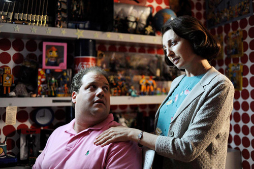 Courtesy Vitagraph Films Abe (Jordan Gelber, left) gets romantic advice from the daydream image of his father's secretary, Marie (Donna Murphy), in a scene from Todd Solondz'