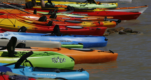 Francisco Kjolseth  |  The Salt Lake Tribune The Open Air Demo Day takes to the water Wednesday, kicking off the Outdoor Retailer Summer Market at Jordanelle State Park. More than 150 outdoor brands and many more retailers are at the reservoir to show off and experience first-hand the new gear coming out for summer 2013.