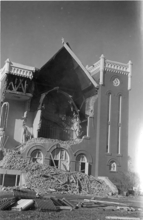 (Courtesy photo | Relic Hall Museum, James and Drusilla Hendricks Camp, DUP) Richmond's Benson Stake Tabernacle was demolished to make way for a new stake center. The 1962 Richmond earthquake caused cracks throughout the building and shook loose much of the interior plaster coverings.