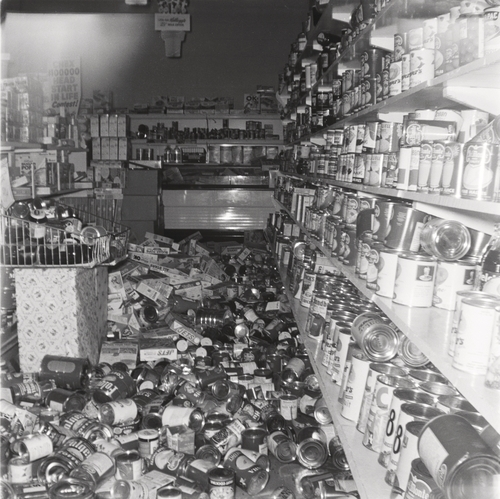 Courtesy photo | Ann Collet Theurer's Store didn't suffer much structural damage in the 1962 Richmond earthquake but many of the canned goods and jars were shaken off the shelves.