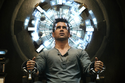 Courtesy Michael Gibson  |  Columbia Pictures Colin Farrell plays Doug Quaid, a regular guy about to go through the Mind Trip experience, in the sci-fi thriller