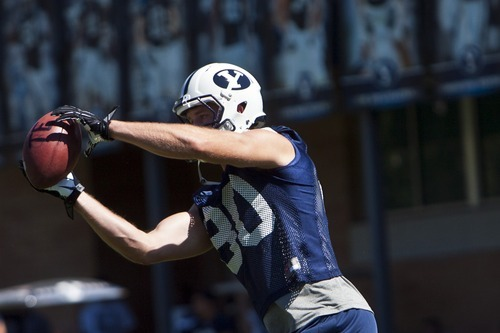 Chris Detrick  |  The Salt Lake Tribune BYU's Marcus Mathews makes a catch during a preseason practice at the BYU outdoor practice field Thursday August 2, 2012.