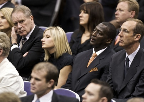 August Miller  |  pool photo  Linda O'Connor, Jazz president of basketball operations Kevin O'Connor, his daughter Lindsay, Jazz assistant coach Tyrone Corbin, former Jazz player Marc Ivaroni listen to the speakers as they and other dignitaries family members and friends attend the funeral for Larry H. Miller at the Energy Solutions Arena in Salt Lake City, Utah, Saturday, Feb. 28, 2009.