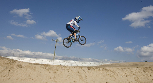 Paul Fraughton | The Salt Lake Tribune Arielle Martin, who was to represent the U.S. in BMX at the London Olympics, takes a few laps on the RAD Canyon BMX Track in South Jordan, where she raced as a kid.